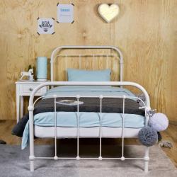 Łóżko metalowe Retro - białe