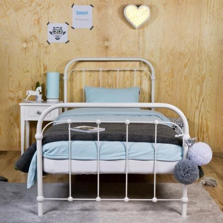 Łóżko metalowe Babunia - białe