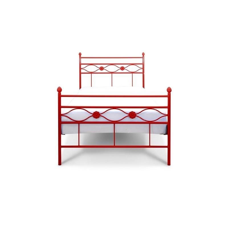 Łóżko metalowe Floris - czerwone