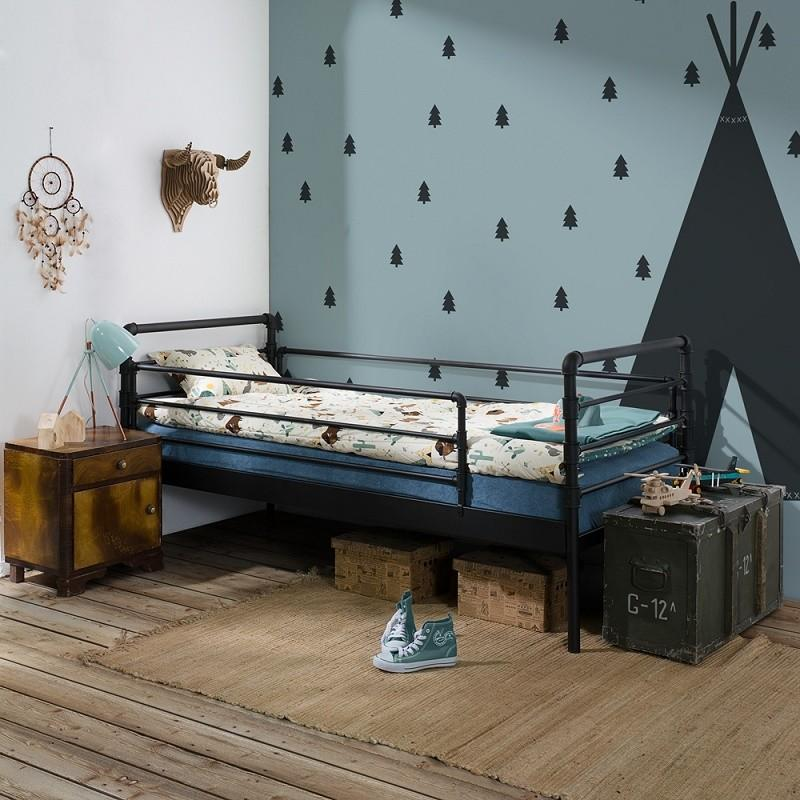 Łóżko metalowe Nexus - czarne (+barierki)