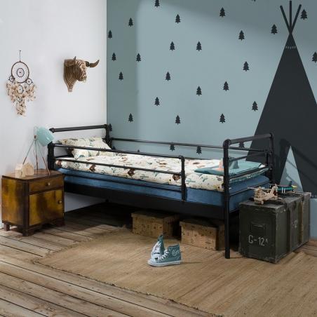 Łóżko metalowe Nexus - czarne (z barierkami)