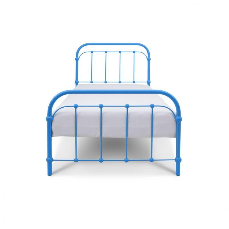 Łóżko metalowe Retro - niebieskie