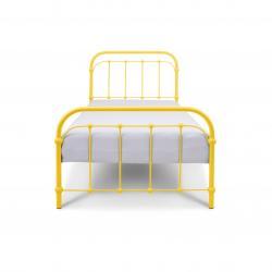Łóżko metalowe Retro - żółte