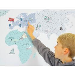 Naklejka Mapa Świata Miętowa
