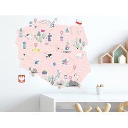 Naklejka Mapa Polski Różowa