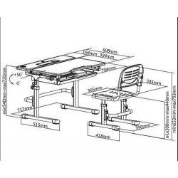 Lavaro Grey Regulowane Biurko + Krzesełko dla Dzieci