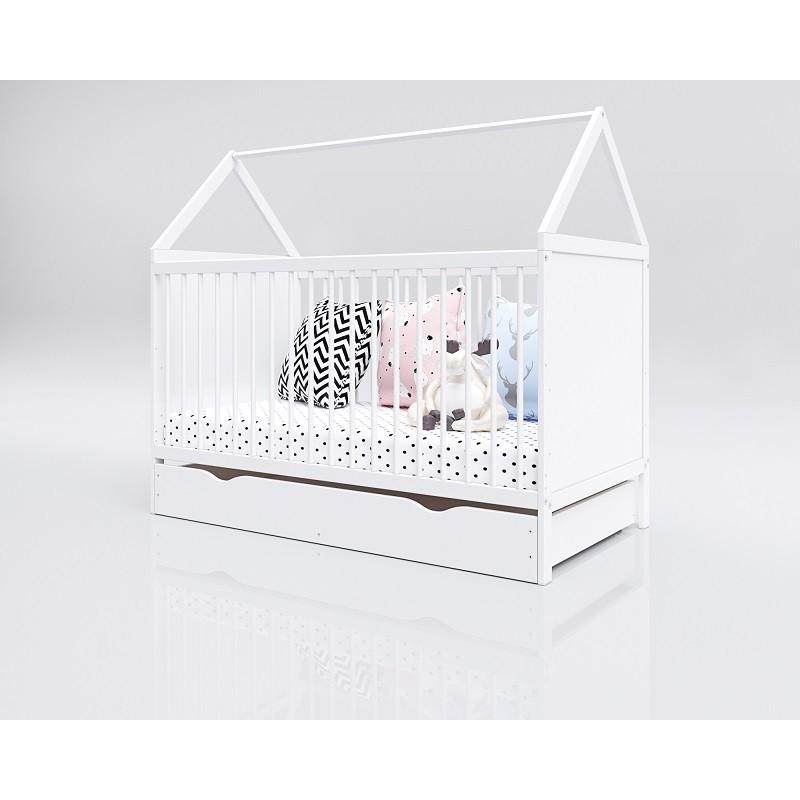 Łóżko Domek 140x70 (białe) z szufladą
