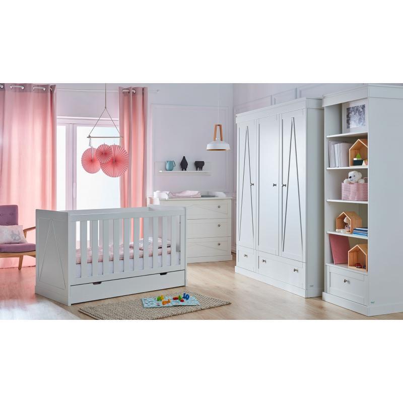 Pinio Marie Zestaw E (szafa 3 drzwiowa + łóżeczko 140x70 + szuflada + komoda + przewijak + regał + półka)