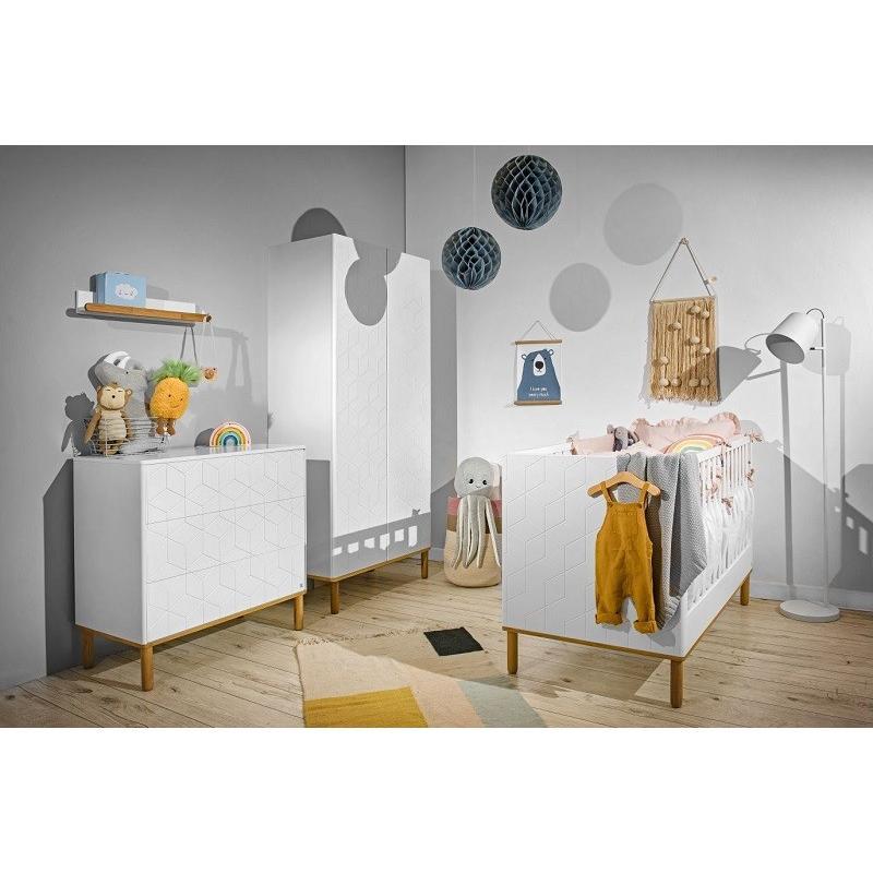 Bellamy Up! + Amsterdam Zestaw A (łóżeczko 120x70 z szufladą i materacem + regał East + regał West)