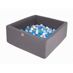 Suchy Basen Kwadratowy ciemnoszary 90x90x40cm z 200 piłkami (biały, niebieski, turkus, baby blue)