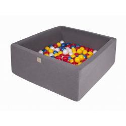 Suchy Basen Kwadratowy ciemnoszary 90x90x40cm z 200 piłkami (czerwone,żółte,biała perła,niebieska perła)