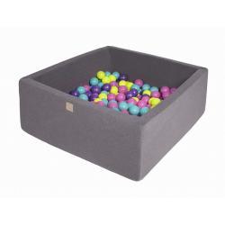 Suchy Basen Kwadratowy ciemnoszary 90x90x40cm z 200 piłkami (fiolet, ciemny róż, limonka, turkus)