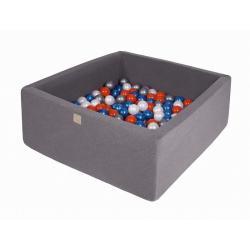 Suchy Basen Kwadratowy ciemnoszary 90x90x40cm z 200 piłkami (niebieska perła, biała perła, pomarańczowa, srebrne)