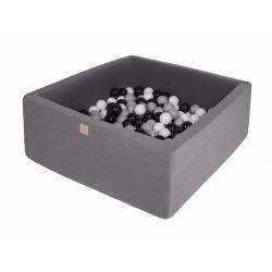 Suchy Basen Kwadratowy ciemnoszary 90x90x40cm z 200 piłkami (szare, białe, czarne)