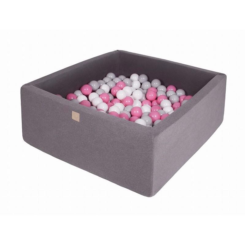 Suchy Basen Kwadratowy ciemnoszary 90x90x40cm z 200 piłkami (szare, białe, jasny róż)