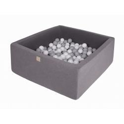 Suchy Basen Kwadratowy ciemnoszary 90x90x40cm z 200 piłkami (szare, białe)