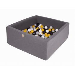 Suchy Basen Kwadratowy ciemnoszary 90x90x40cm z 200 piłkami (szary, biały, czarny, żółty)