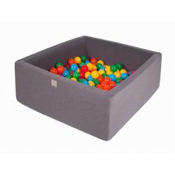 Suchy Basen Kwadratowy ciemnoszary 90x90x40cm z 200 piłkami (żółte,czerwone,ciemny zielony,pomarańczowy,niebieski)