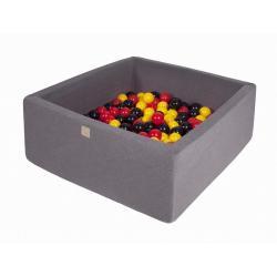 Suchy Basen Kwadratowy ciemnoszary 90x90x40cm z 200 piłkami (żółte,czerwone,czarne)