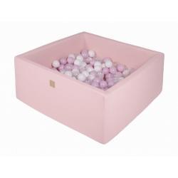 Suchy Basen Kwadratowy pastelowy róż 90x90x40cm z 200 piłkami (białe, pastelowy róż, transparent)