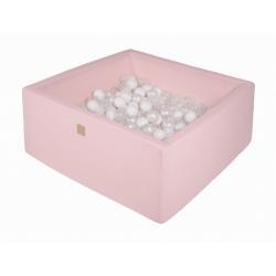 Suchy Basen Kwadratowy pastelowy róż 90x90x40cm z 200 piłkami (białe, transparentne, biała perła)