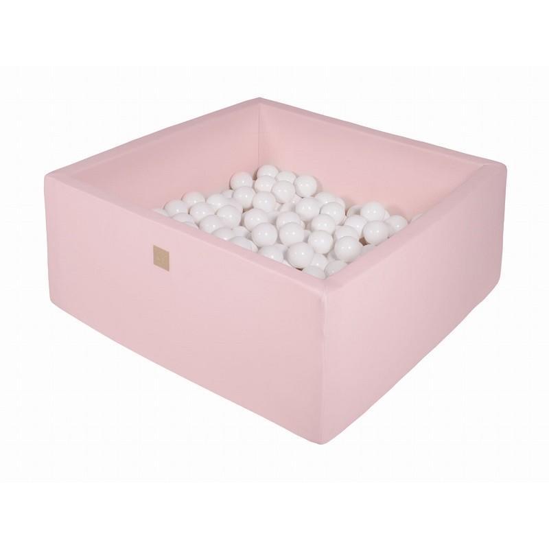 Suchy Basen Kwadratowy pastelowy różowy 90x90x40cm z 200 piłkami (Białe)