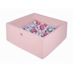 Suchy Basen Kwadratowy pastelowy róż 90x90x40cm z 200 piłkami (mięta, baby blue, jasny róż, pastelowy róż)