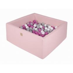 Suchy Basen Kwadratowy pastelowy róż 90x90x40cm z 200 piłkami (szare, białe, ciemny róż)