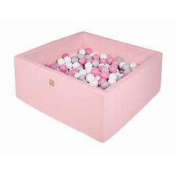 Suchy Basen Kwadratowy pastelowy róż 90x90x40cm z 200 piłkami (szare, białe, jasny róż)