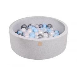 Suchy Basen jasnoszary 90x30cm z 200 piłkami (babyblue, transparentne, srebrne, biała perła)