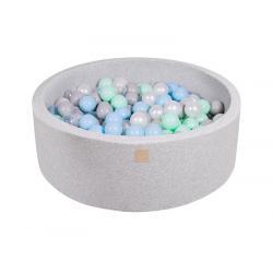 Suchy Basen jasnoszary 90x30cm z 200 piłkami (biała perła, szare, transparentne, miętowe, babyblue)