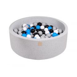 Suchy Basen jasnoszary 90x30cm z 200 piłkami (białe, niebieskie, czarne, szare)