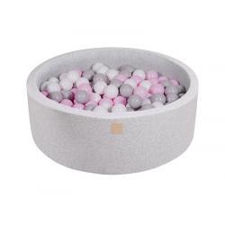 Suchy Basen jasnoszary 90x30cm z 200 piłkami (białe, szare, pastelowy róż)