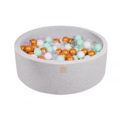 Suchy Basen jasnoszary 90x30cm z 200 piłkami (białe, złote, transparentne, miętowe)