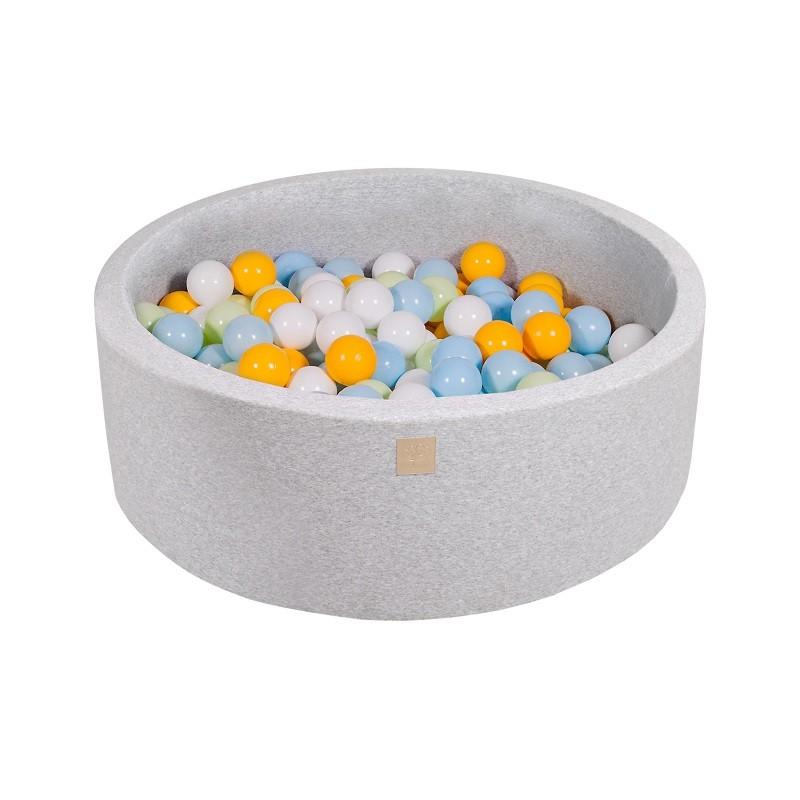 Suchy Basen jasnoszary 90x30cm z 200 piłkami (białe, żółte, jasnozielone, babyblue)