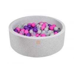Suchy Basen jasnoszary 90x30cm z 200 piłkami (ciemnoróżowe, fioletowe, transparentne, szare)