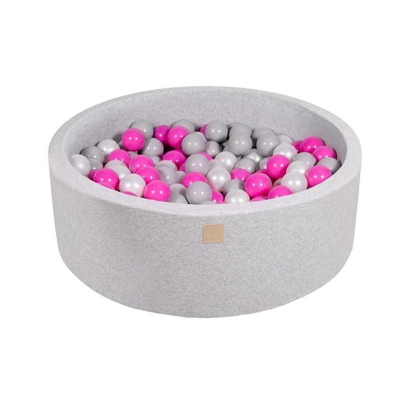 Suchy Basen jasnoszary 90x30cm z 200 piłkami (ciemny róż, szare, biała perła)