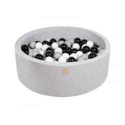 Suchy Basen jasnoszary 90x30cm z 200 piłkami (czarne, szare, białe)