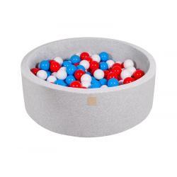 Suchy Basen jasnoszary 90x30cm z 200 piłkami (czerwone, białe, niebieskie)