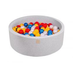 Suchy Basen jasnoszary 90x30cm z 200 piłkami (czerwone, żółte, biała perła, niebieska perła)