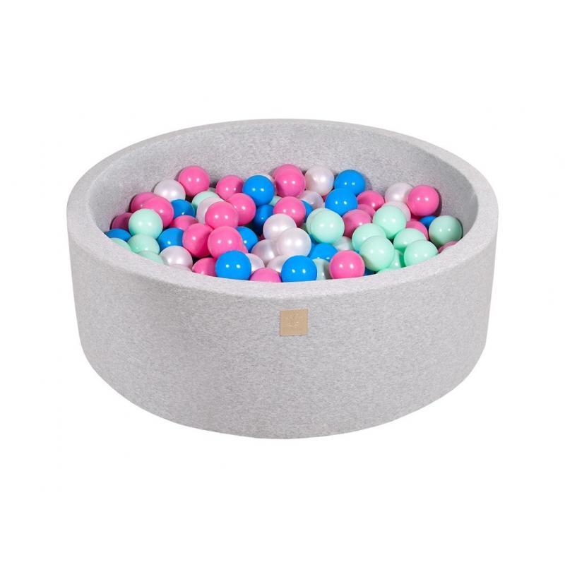 Suchy Basen jasnoszary 90x30cm z 200 piłkami (miętowe, szare, białe)