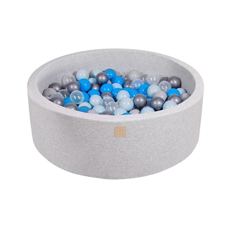 Suchy Basen jasnoszary 90x30cm z 200 piłkami (niebieskie, biała perła, jasny róż, miętowe)
