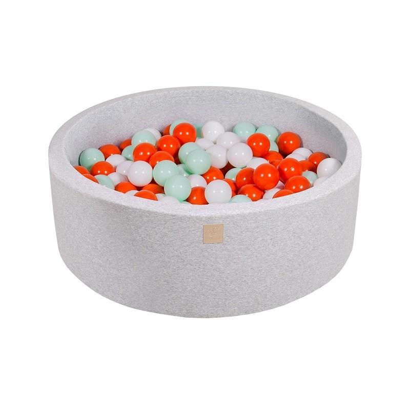 Suchy Basen jasnoszary 90x30cm z 200 piłkami (niebieskie, transparentne, babyblue, srebrne, szare)