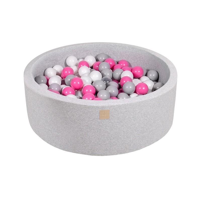 Suchy Basen jasnoszary 90x30cm z 200 piłkami (szare,białe)