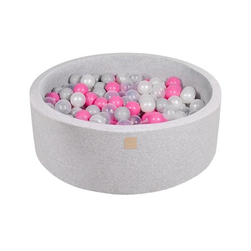 Suchy Basen jasnoszary 90x30cm z 200 piłkami (szare,białe, jasnoróżowe)