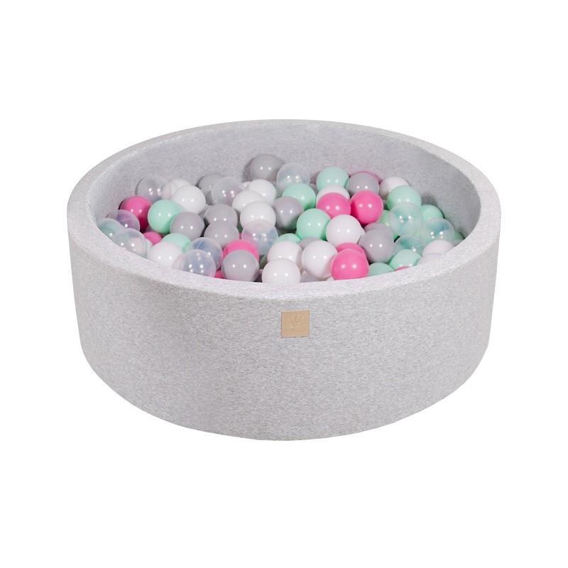 Suchy Basen jasnoszary 90x30cm z 200 piłkami (transparentne, jasny róż, biała perła,szary)