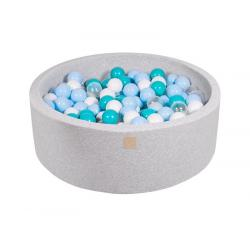 Suchy Basen jasnoszary 90x30cm z 200 piłkami (turkusowe, babyblue, transparentne, białe)