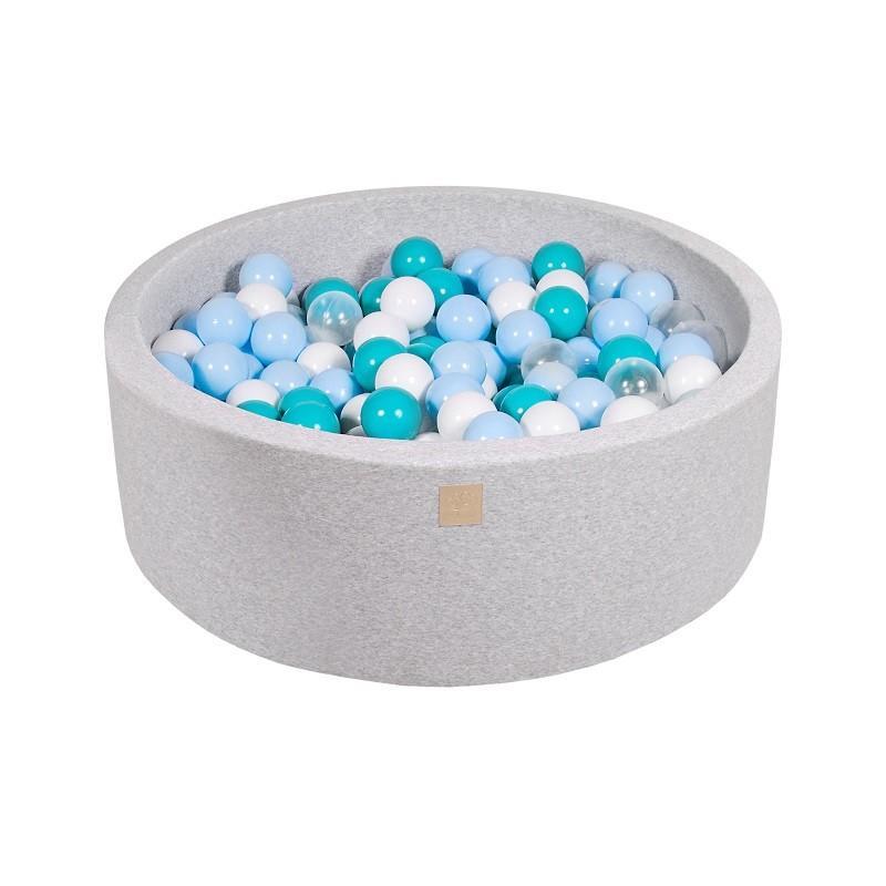 Suchy Basen jasnoszary 90x30cm z 200 piłkami (transparentne, szare, białe, jasny róż, miętowe)