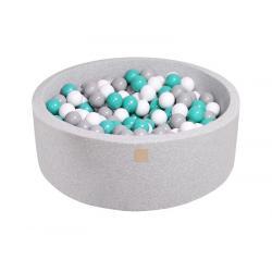 Suchy Basen jasnoszary 90x30cm z 200 piłkami (turkusowe, szare, białe)