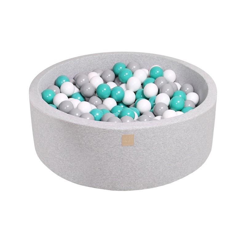 Suchy Basen jasnoszary 90x30cm z 200 piłkami (turkusowe, j.zielony, szare, transparentne)